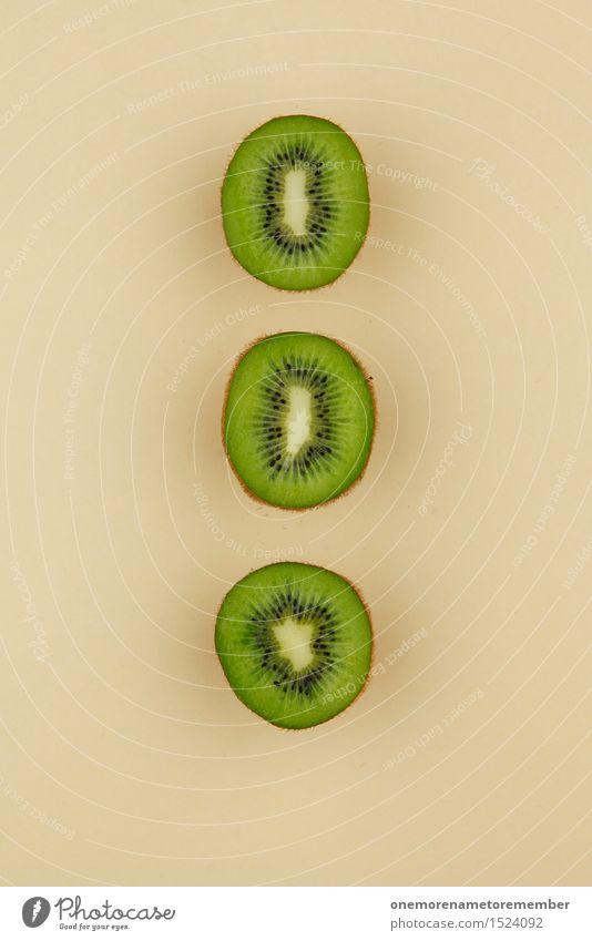 Kiwi Trio II grün Gesunde Ernährung Kunst Dekoration & Verzierung ästhetisch lecker Teilung Reihe Geometrie Kunstwerk Symmetrie beige Südfrüchte