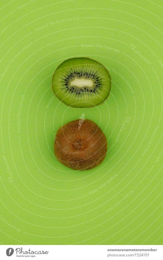 Kiwi... Zack! Kunst Kunstwerk ästhetisch Hälfte 2 grün grasgrün lecker vitaminreich Teilung mehrfarbig Vegetarische Ernährung Bioprodukte Farbfoto Innenaufnahme