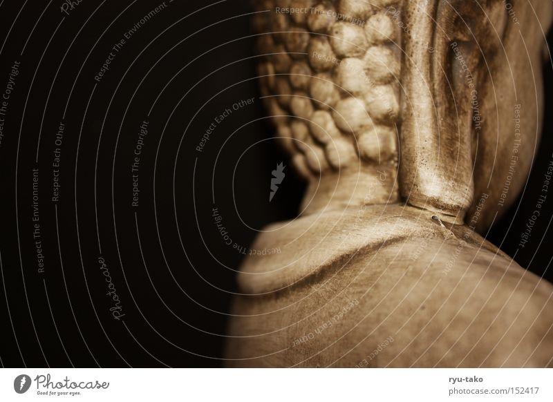 Relax. Buddha hinten Stein schwarz Rücken Ohr einfach Erholung interessant ruhig Flüssigkeit Religion & Glaube Buddhismus Erkenntnis Frieden