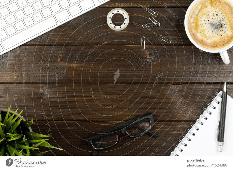 Büroalltag Holz Schule Business Wohnung Dekoration & Verzierung Tisch Getränk Computer lernen Studium Brille Kaffee Bildung Sitzung Schreibtisch