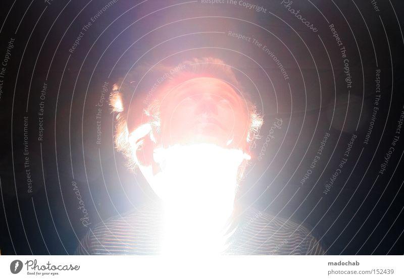 Fieberträume Mensch Mann dunkel Kopf hell Beleuchtung Vergänglichkeit Strahlung Typ Erkenntnis