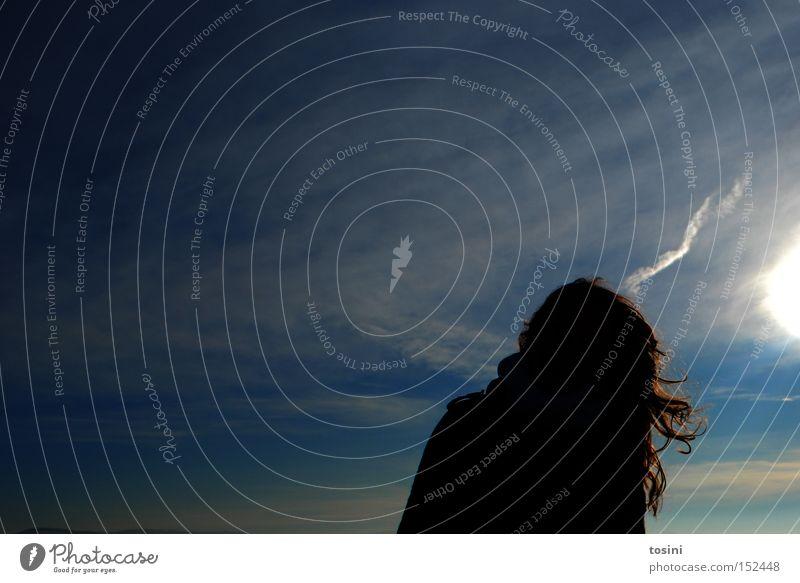 kind der sonne [2] Frau Mensch Natur Himmel Sonne blau Winter Wolken Haare & Frisuren hell Beleuchtung Strahlung