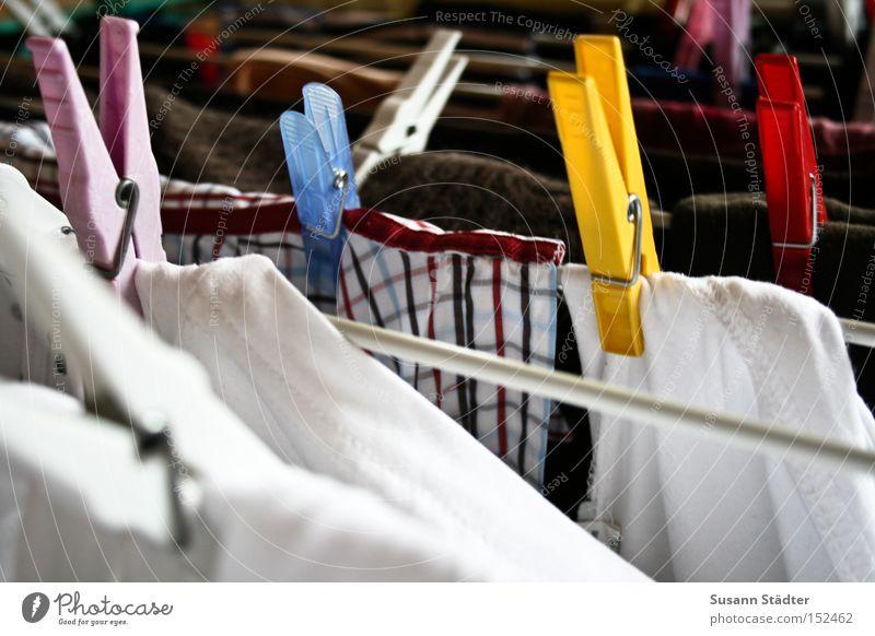Schatz, bitte häng die Wäsche auf! Wärme dreckig Bekleidung T-Shirt Dinge festhalten Hemd Waschmaschine Wäsche waschen Haushalt trocknen aufhängen Klammer