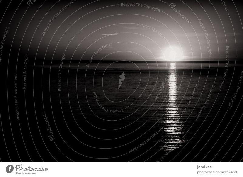 Sinnlichkeit Sommer Sonne Sonnenuntergang Meer Atlantik Frankreich Wärme Mittelmeer Freiheit Zärtlichkeiten Landschaft Schwarzweißfoto lieblich hell zart