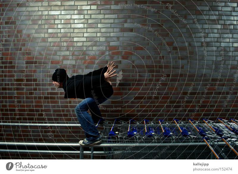 winterschlussverkauf Mann Mensch Kunde Einkaufswagen kaufen Konsum Marketing laufen Rennsport Laufsport springen Warteschlange Reihe bezahlen