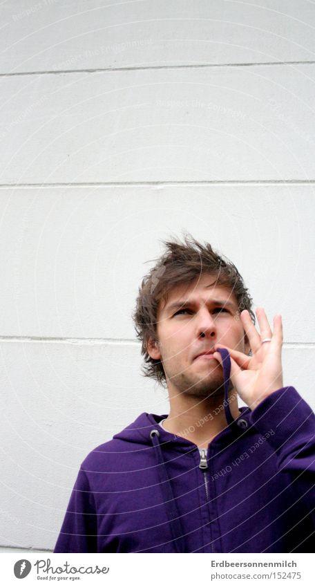 es ist an der zeit.. Mann Jugendliche Freude Erholung Wand Glück Rauchen violett trashig Rauschmittel harmonisch Sucht old-school
