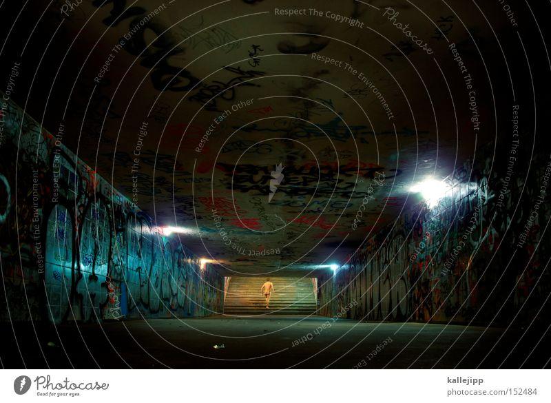 last exit Mensch Mann Tod Leben nackt Religion & Glaube Rücken gehen laufen Treppe Laufsport Tunnel aufwärts Auferstehung