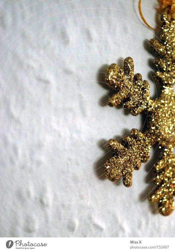 wieder zu Hause Farbfoto Schnee Dekoration & Verzierung Tapete Feste & Feiern Schmuck Gold glänzend niedlich weiß Stern (Symbol) Schneekristall Glitter