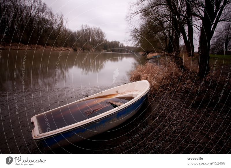 gestrandet Fluss Inn Wasserfahrzeug trüb Baum Flussufer Winter trist Langzeitbelichtung Vergänglichkeit graufilter vollgelaufen Im Wasser treiben Ruderboot