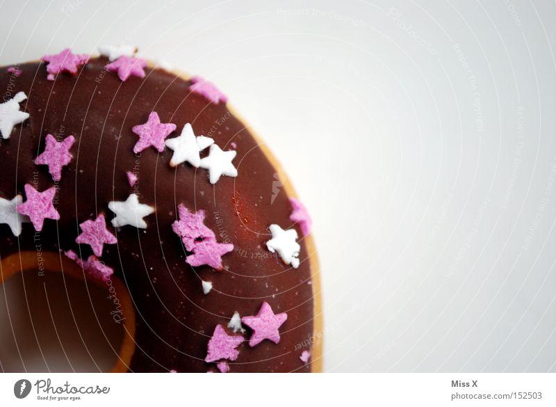 Weihnachtsdonut Kuchen Schokolade Ernährung lecker süß braun rosa weiß Appetit & Hunger Krapfen Stern (Symbol) Backwaren Loch Farbfoto Nahaufnahme