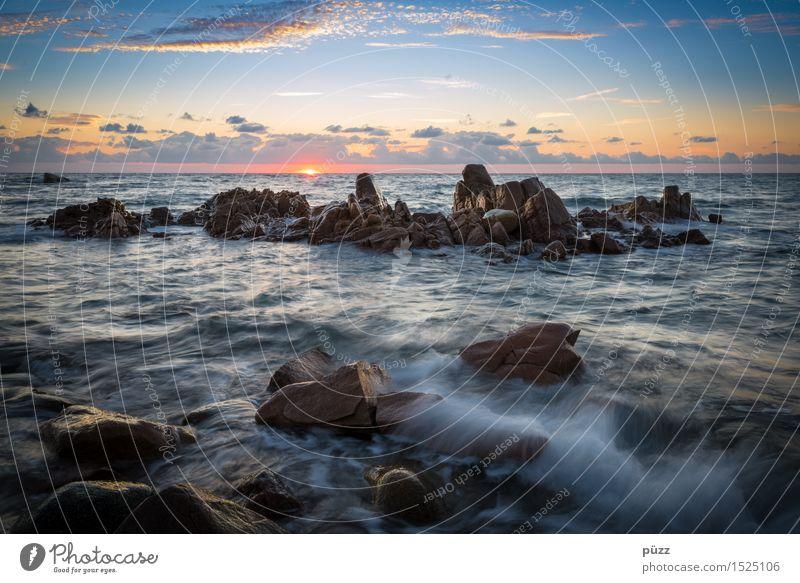 Korsika Natur Ferien & Urlaub & Reisen blau Sommer Wasser Sonne Meer Erholung Landschaft Wolken ruhig Ferne Umwelt Küste Freiheit Stein