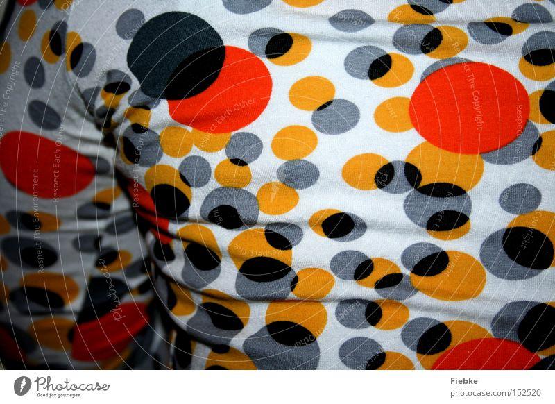 You're colourful Rücken Pullover Top Kreis Punkt Muster Farbe mehrfarbig schwarz weiß orange gelb Arme Bekleidung schön