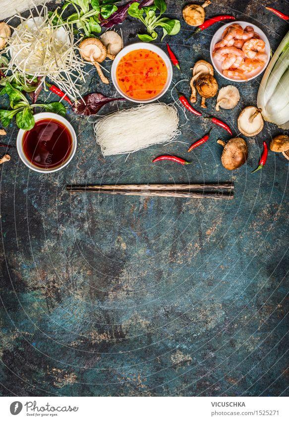 Asiatische Koch Zutaten und Saucen mit Stäbchen Gesunde Ernährung Leben Stil Hintergrundbild Lifestyle Lebensmittel Design Tisch Kräuter & Gewürze Küche Gemüse Asien Bioprodukte Restaurant Schalen & Schüsseln China
