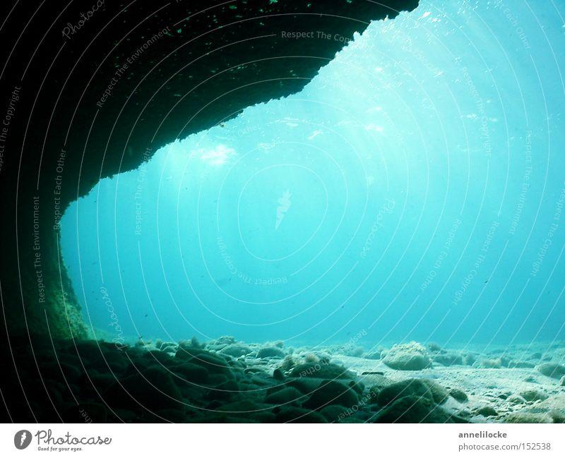 einsame stille blau Wasser Ferien & Urlaub & Reisen Meer Einsamkeit ruhig Ferne kalt Felsen Unterwasseraufnahme nass Tourismus leer Hoffnung tauchen Sommerurlaub