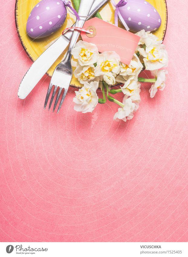 Ostern Tisch Gedeck mit Narzissen und Eier grün gelb Stil Hintergrundbild Feste & Feiern Party rosa Wohnung Design Dekoration & Verzierung Blühend violett
