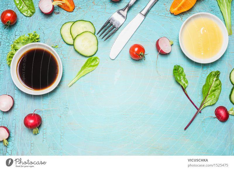 Salat und Dressing Zutaten blau Gesunde Ernährung Leben Stil Hintergrundbild Lebensmittel Design Tisch Kräuter & Gewürze Küche Gemüse Bioprodukte Restaurant