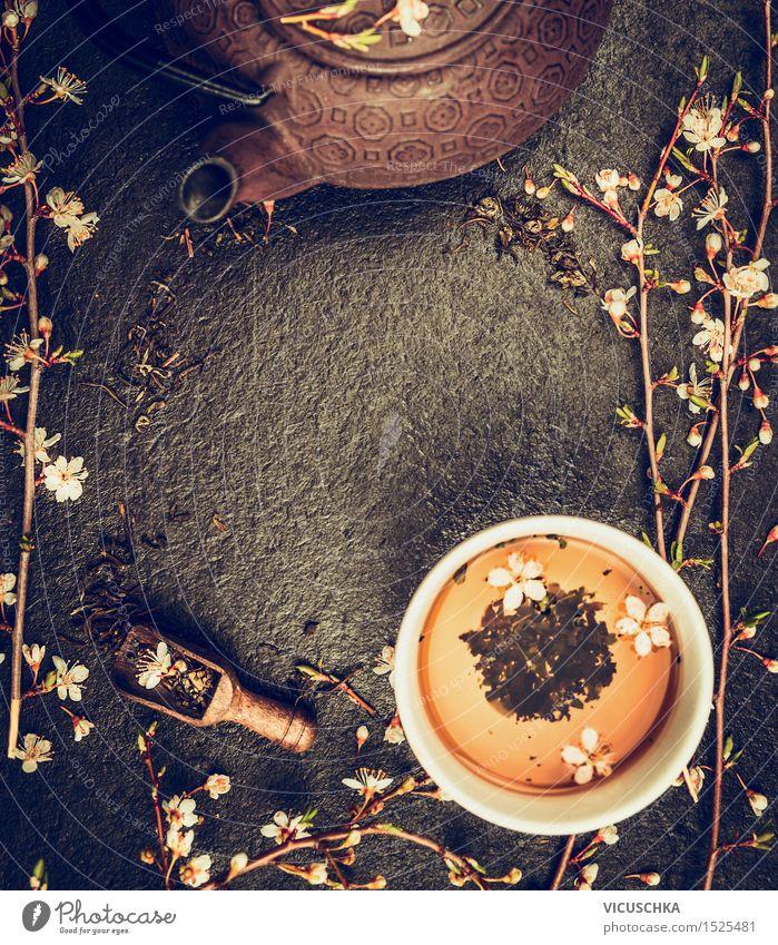 Tee Set mit Teekanne und Jasminblüten Gesunde Ernährung Leben Blüte Frühling Stil Hintergrundbild Lifestyle Lebensmittel Design Getränk Restaurant Duft Blütenknospen Tee Tasse altehrwürdig