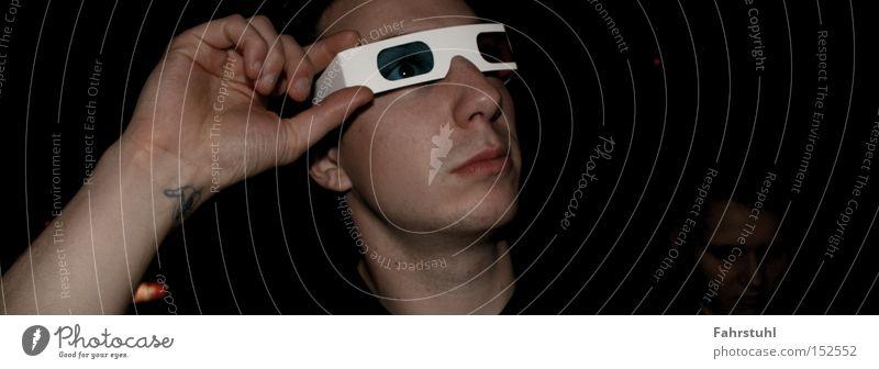 3D-Brille Mann Hand Gesicht Arme Papier Club dreidimensional Mensch
