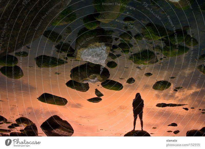man on the moon Mensch Wasser Himmel Meer Strand Einsamkeit Ferne träumen Stein Traurigkeit Küste Wissenschaftler Sonnenuntergang stehen Ende Spiegel