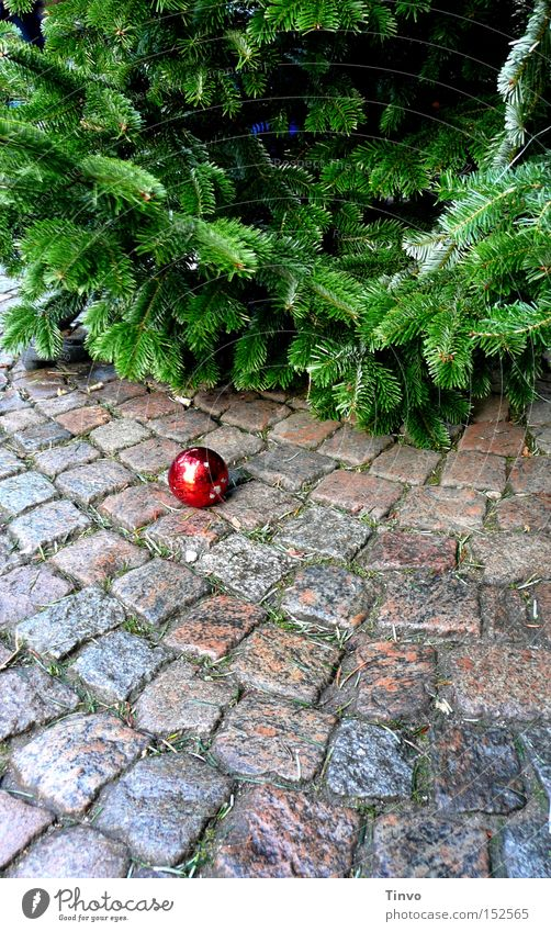 Knutsdagen Weihnachtsbaum Weihnachten & Advent Weihnachtsmarkt Weihnachtsdekoration Christbaumkugel Baumschmuck Tannenzweig Kopfsteinpflaster Weihnachtsende