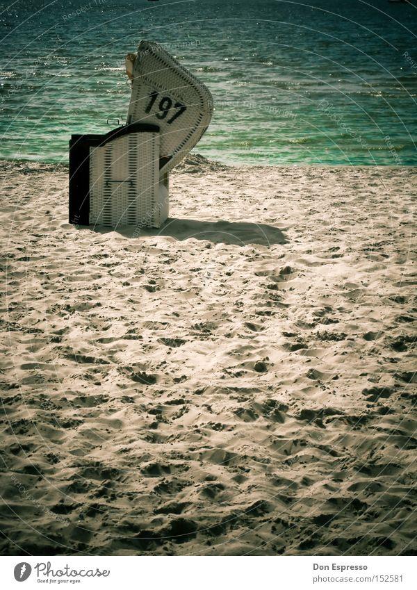 197-Beachlife Wasser Ferien & Urlaub & Reisen Meer Sommer Strand Erholung Wärme Küste Sand See Wellen nass Ziffern & Zahlen heiß Strandkorb Nordsee
