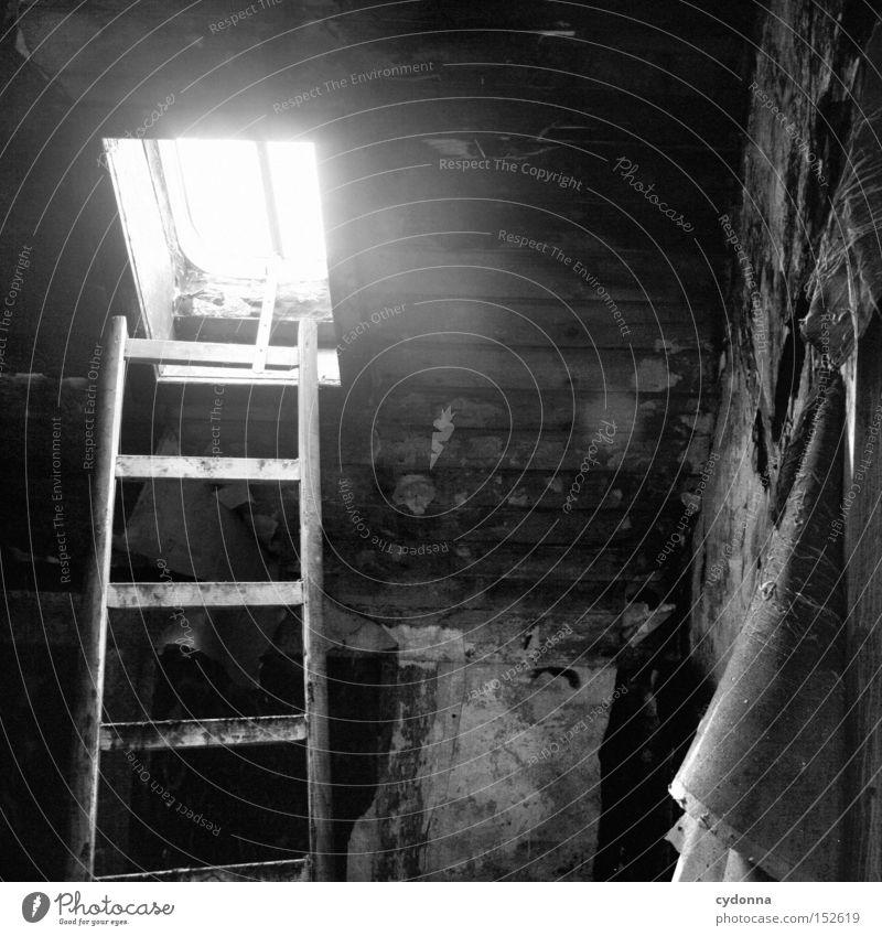 Dachboden Haus Einsamkeit Fenster Raum Zeit Häusliches Leben Vergänglichkeit geheimnisvoll verfallen Leiter Nostalgie Dachboden Villa altmodisch Leerstand Jahrhundert