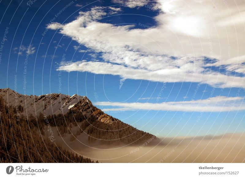 Mountain Dreamworld III. Himmel blau Berge u. Gebirge Nebel Wolken Wald Schnee Winter Aussicht Dunst Farbe Farbstoff Erholung Alpen Alpstein
