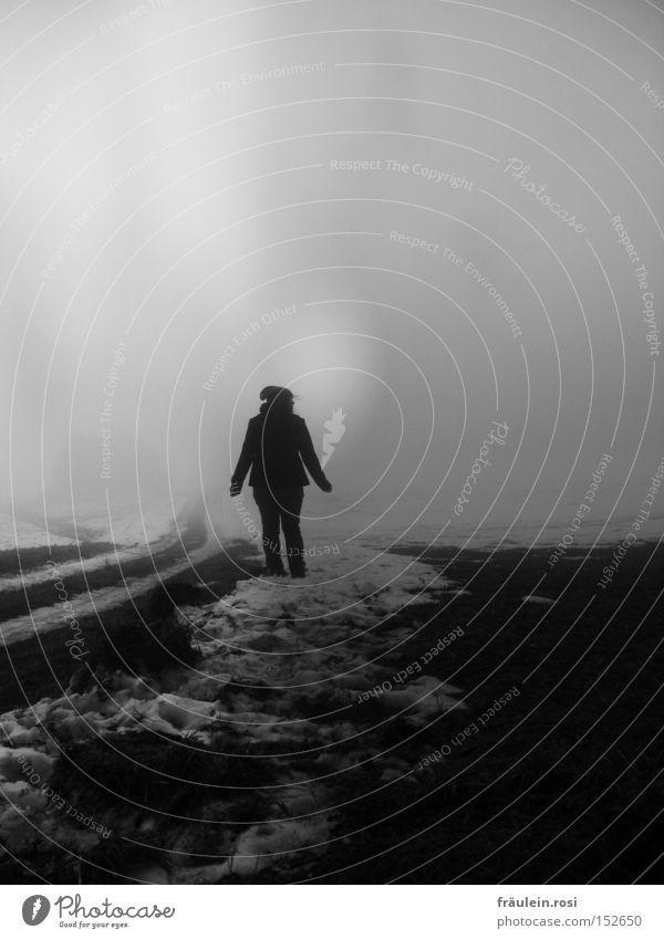 trübes Grauen! Nebel kalt dunkel Fußweg Schnee Angst verloren Mut nass unklar Schwarzweißfoto grau Trauer Suizidalität Wunsch Einsamkeit einzeln Spaziergang