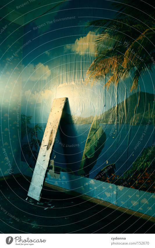Ferne Welten Illusion Wunschvorstellung Fototapete Licht altmodisch Leerstand Raum Häusliches Leben Zeit Vergänglichkeit Kinderzimmer Wolken Nostalgie