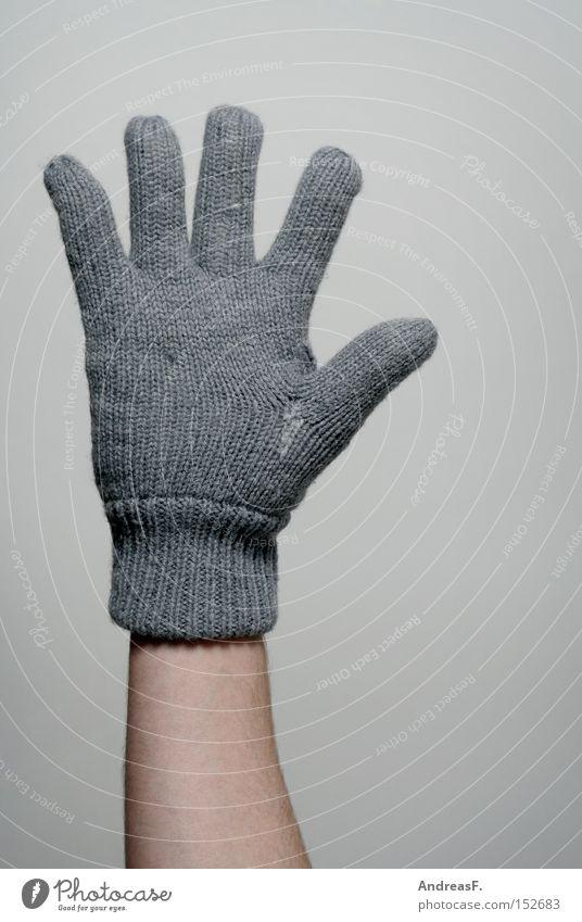 Alle Fünfe 5 Hand Finger Handschuhe Winter kalt gestrickt Wolle frieren Wärme anziehen Bekleidung Heizkörper Heizung Lebenszeichen winterkleidung