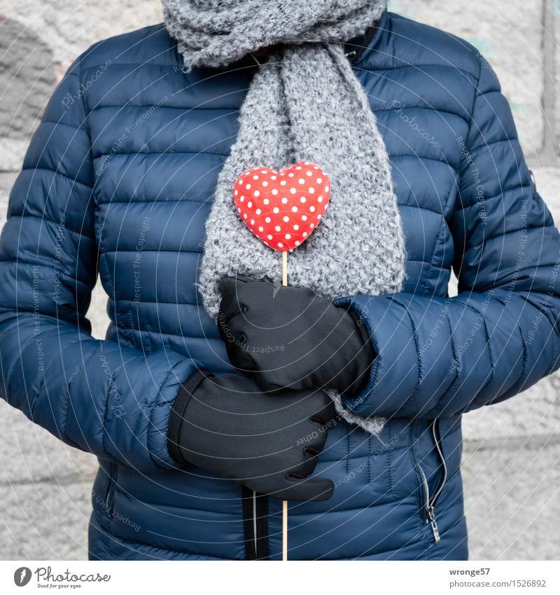 Herzensangelegenheit Mensch Frau blau weiß rot Erwachsene Liebe feminin grau 45-60 Jahre Weiblicher Senior Jacke Verliebtheit Valentinstag Schal