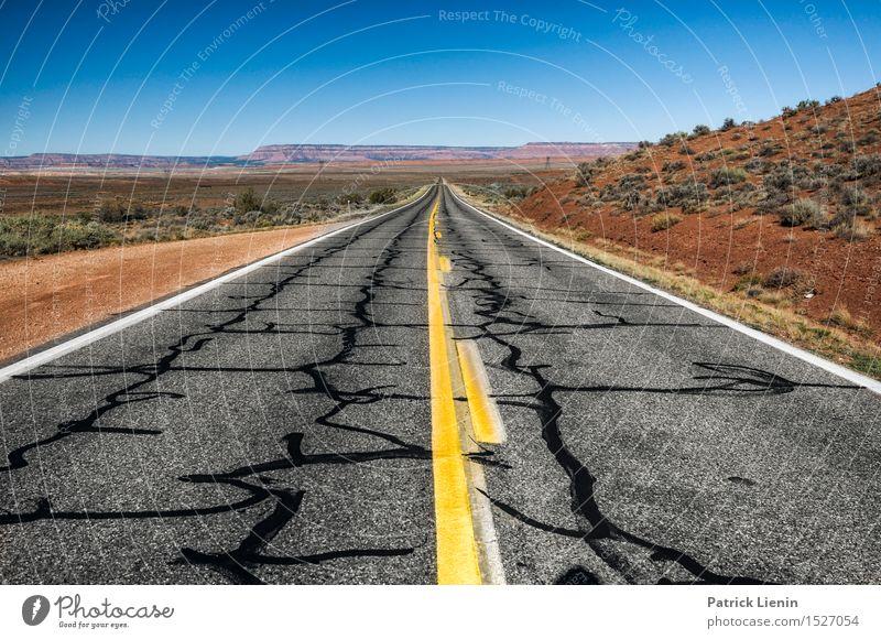 Life is a Highway Ferien & Urlaub & Reisen Abenteuer Ferne Freiheit Natur Landschaft Urelemente Himmel Sommer Klima Klimawandel Wetter Wärme Dürre