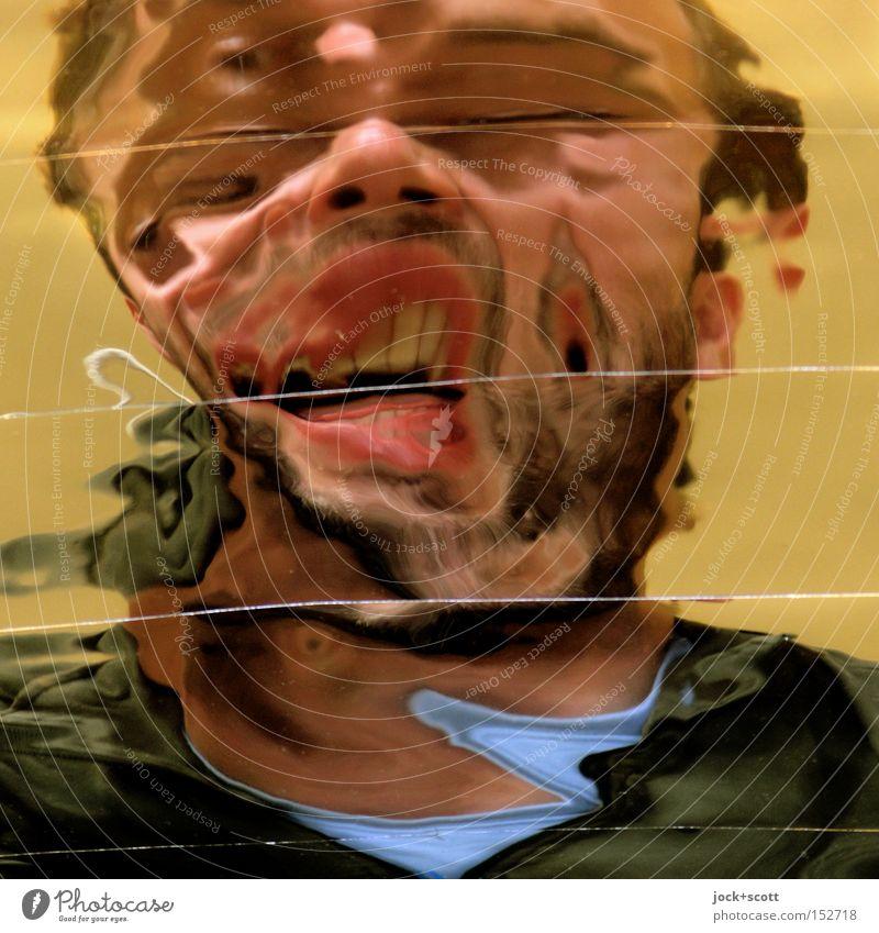 Knives Out Mensch Mann Erwachsene Gesicht außergewöhnlich fantastisch Wandel & Veränderung Risiko Bart gruselig Schmerz Irritation Momentaufnahme Stress trashig