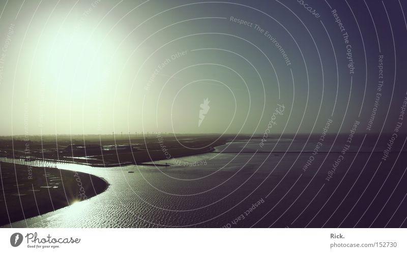 .Stürmische Zeiten Höhe Panorama (Aussicht) Horizont Küste Seeufer Flussufer Strand Ebbe Flut Wassermassen Gezeiten Winter Wind Sturm Himmel Sonne Niedersachsen