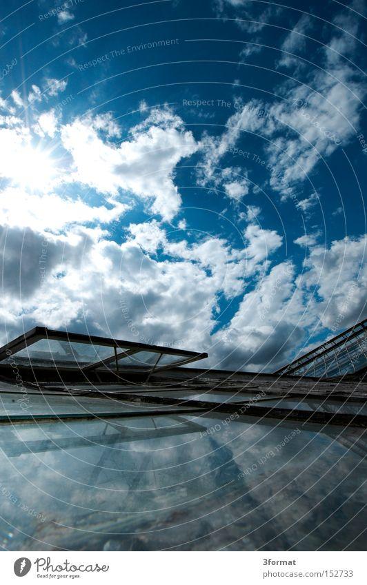 glashaus Sommer Garten Gewächshaus Glas Spiegel Sonne Himmel Wolken Reflexion & Spiegelung Hochformat positiv Optimismus Optimist Licht Fenster Fensterscheibe