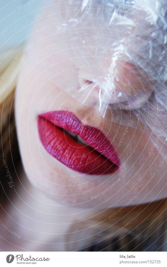 Psychodelic IV Folie Seele Gesicht Frau Rauschmittel Einsamkeit gruselig Horrorfilm Moral Mensch Frischhaltefolie verrückt Psychatrie Drogenentzug Traurigkeit