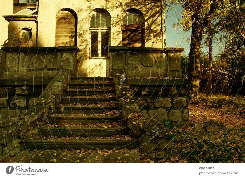 Villa R im Herbst Sonne Haus Einsamkeit Herbst Fenster Gebäude Zeit Fassade Treppe Häusliches Leben Vergänglichkeit verfallen Nostalgie Villa altmodisch Klassik