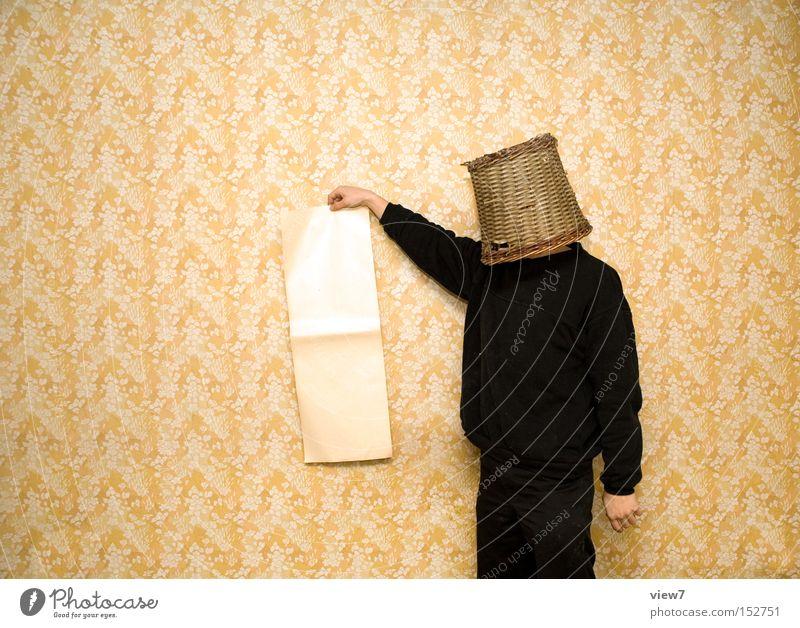 Beweis. Mensch Mann schwarz Arbeit & Erwerbstätigkeit sprechen Erwachsene Angst lustig maskulin Papier leer Kommunizieren außergewöhnlich Bildung festhalten Werbung
