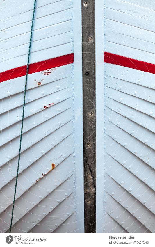 Bug Schifffahrt Fischerboot Wasserfahrzeug Holz Linie Streifen natürlich blau Farbe Tradition Handwerk Schiffsrumpf Schiffsbug Seil Schiffsplanken