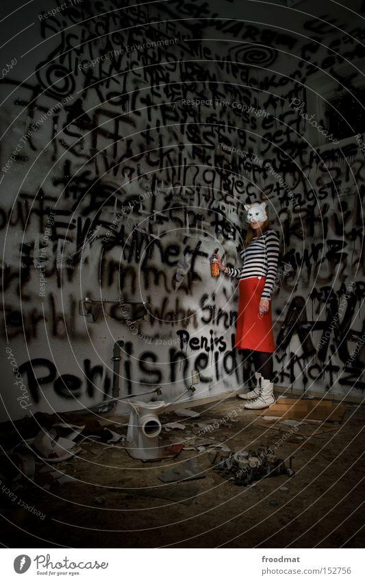 guten flutsch Katze sprühen Graffiti Schmiererei Toilette Surrealismus Pornographie anstößig versaut Rock Maske verkleiden Justizvollzugsanstalt Sprühdose Frau