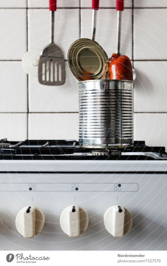 Dinner for One Einsamkeit Lebensmittel Metall Raum Ernährung Kochen & Garen & Backen einzigartig Küche Krankheit Übergewicht dick Fleisch skurril Verpackung