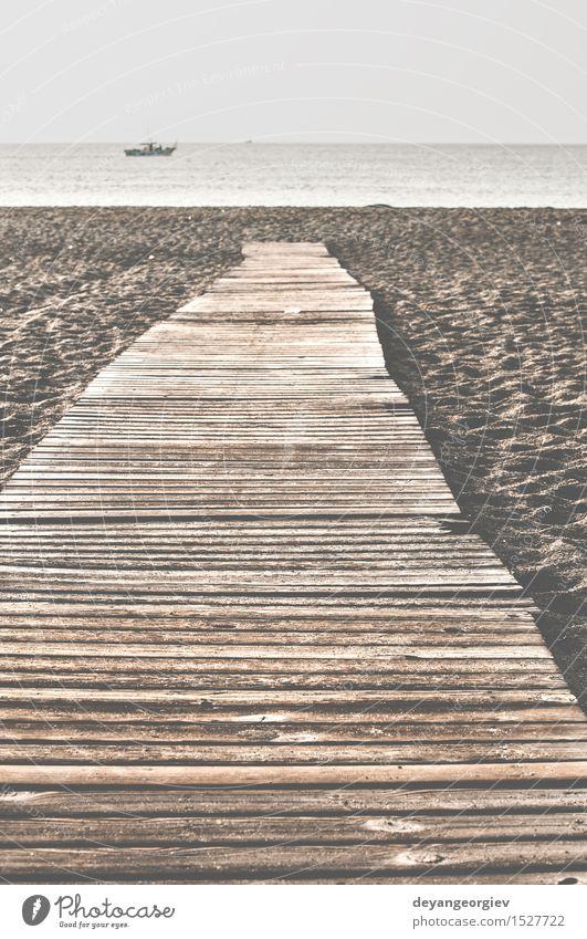Strand und Holzpfad. Erholung Ferien & Urlaub & Reisen Sommer Meer Natur Landschaft Sand Küste Wege & Pfade braun Laufsteg Florida Promenade Wasser Anlegestelle