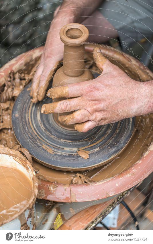 Potter macht Tonflasche Schalen & Schüsseln Topf Basteln Arbeit & Erwerbstätigkeit Handwerk Kunst machen Töpfer Töpferwaren Rad Kunstgewerbler Schaffung