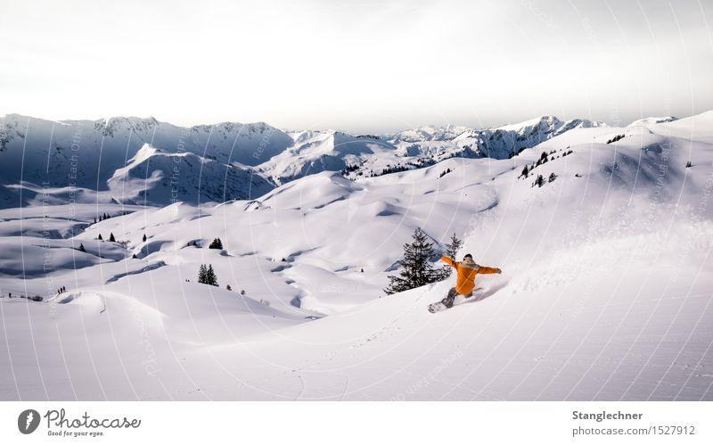 Powder Snowboard Snowboarding Snowboarder Tiefschnee Pulverschnee backcountry Mensch maskulin Leben 1 Natur Landschaft Himmel Sonne Winter Wetter Schönes Wetter