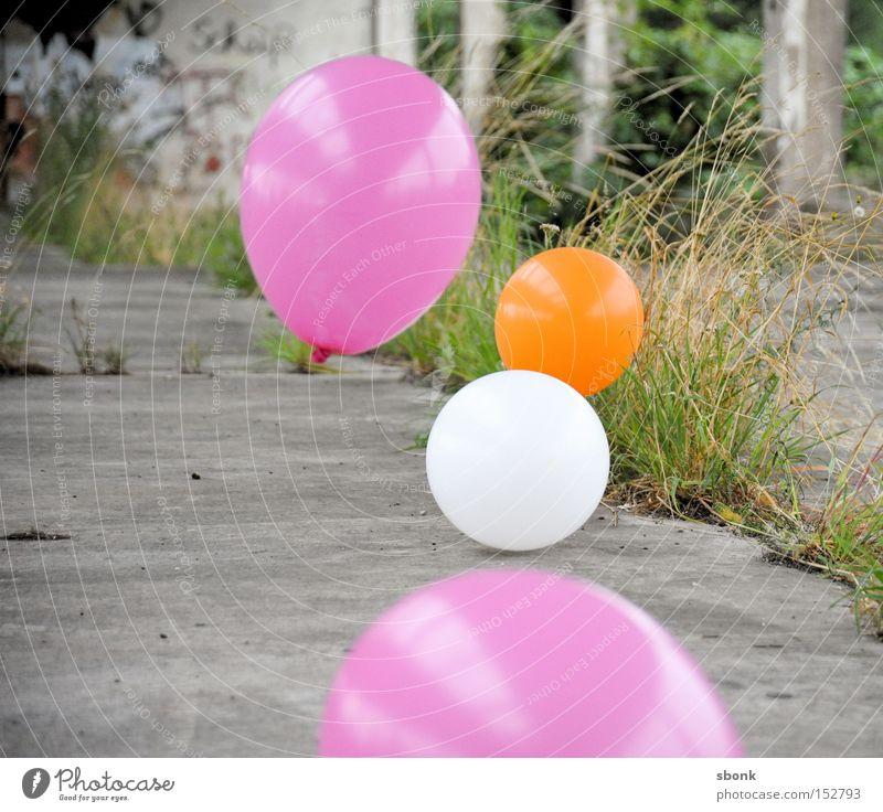 hit field balloon Luftballon rosa Gras Spielen spielend Beton aufgeblasen