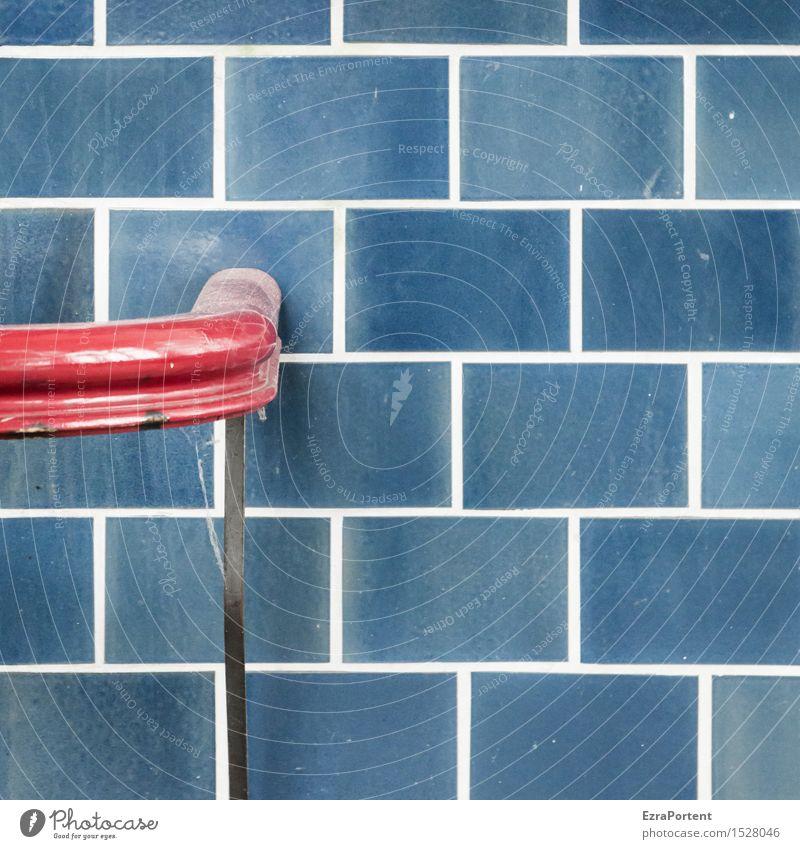 Ende Geländer Mauer Wand Fassade Linie blau rot Beginn Design Farbe festhalten Halt Fliesen u. Kacheln Farbfoto Gedeckte Farben Außenaufnahme Nahaufnahme