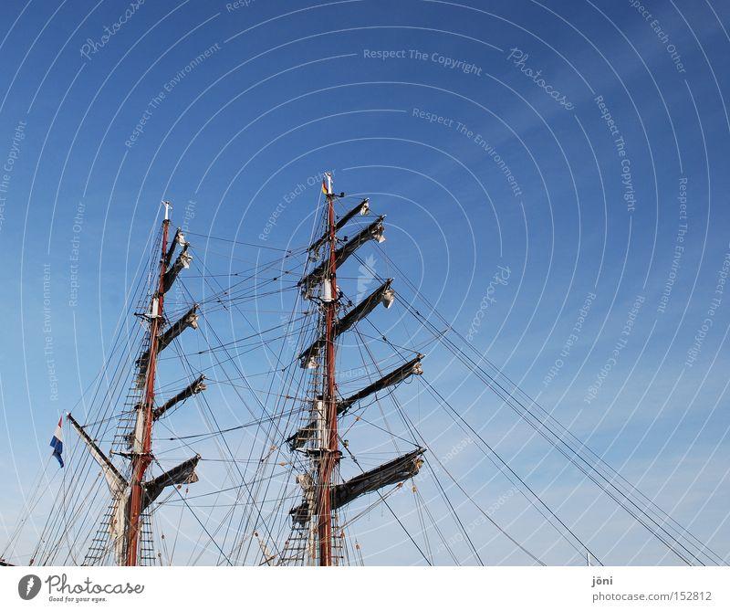 Segelsache Himmel Wasser Ferien & Urlaub & Reisen Meer Freiheit Wasserfahrzeug frei Abenteuer Seil Sturm Schifffahrt Segeln Strommast Takelage