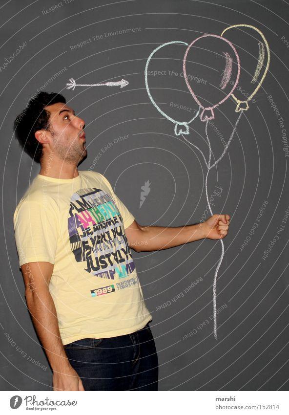:::kawuuum::: Mann schön Freude Luft Feste & Feiern lustig Luftballon kaputt Ziel Spielzeug Pfeil Pfeile blasen mehrfarbig Mensch hören