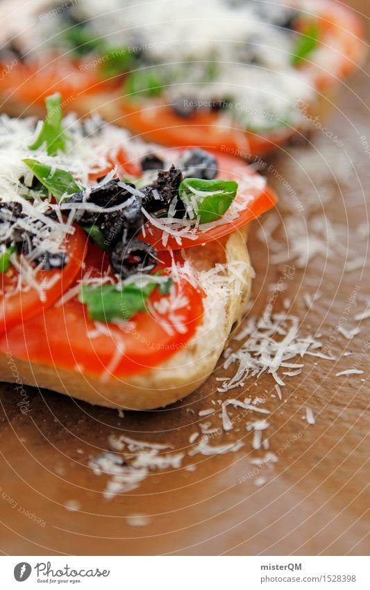 vorher Lebensmittel Käse Teigwaren Backwaren Brötchen ästhetisch lecker Appetit & Hunger Essen Snack Snackbar mediterran Tomate Oliven Basilikum Basilikumblatt