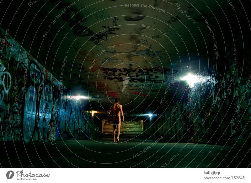 final destination Mann Mensch Tunnel offen Licht Treppe Unterführung U-Bahn Bahnhof Nacht Einsamkeit nackt gehen laufen Laufsport skurril verrückt heilig
